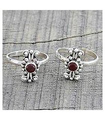garnet toe rings, 'dotted beauties' (pair) (india)