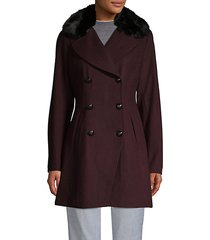 melton faux fur collar peacoat