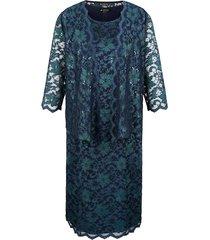 klänning & liten jacka m. collection marinblå::grön