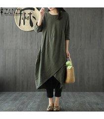 vestido casual con mangas largas zanzea para mujer-verde militar