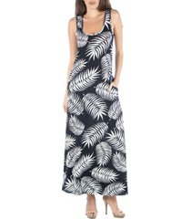 24seven comfort apparel sleeveless feather print maxi dress with pockets
