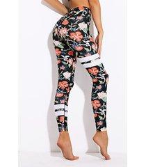 leggings deportivos negros de secado rápido con estampado floral activo