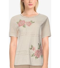 alfred dunner petite springtime in paris embroidered top