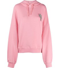 alexandre vauthier crystal-embellished hoodie - pink