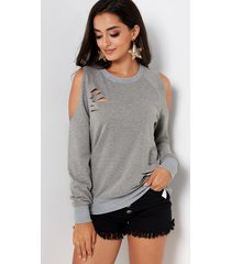 grey random ripped details plain cold shoulder long sleeves t-shirts
