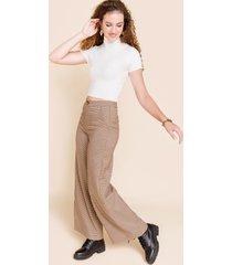 women's elise plaid wide leg pants in brown by francesca's - size: l