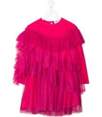 raspberry plum livia tiered tulle dress - pink