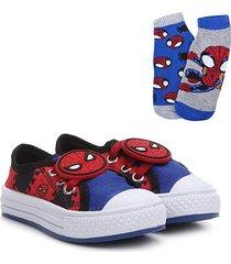 kit tênis infantil marvel patch homem aranha + 2 meias masculino - masculino