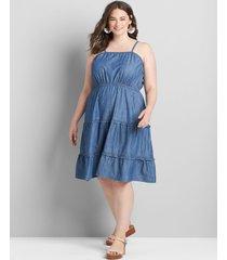 lane bryant women's sleeveless tiered ruffle short dress 16p chambray