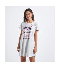 camisola manga curta estampa relógio com lettering | lov | cinza | p