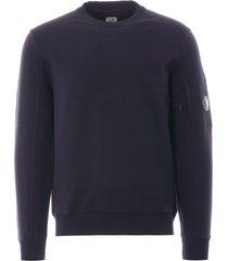cp company diagonal raised fleece lens sweatshirt |  total eclipse | 39a-5086w 888