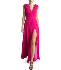 basix black label surplice slit gown