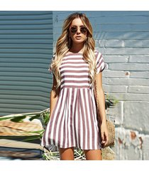 vestido de verano ropa mujer manga corta beige rayas