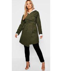 plus wool look wrap front coat, khaki