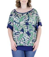 plus size monstera leaf print wide sleeve top