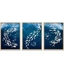 quadro 60x120cm urak oh7 peixes brancos decorativo moldura natural com vidro