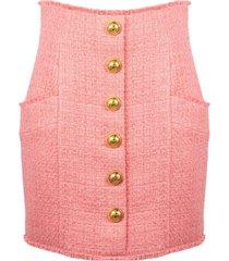 rose pink cotton blend tweed skirt