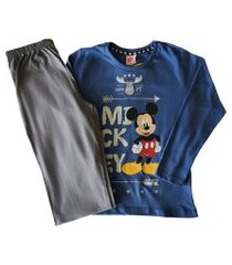 pijama evanilda camiseta manga longa e calça mickey azul e mescla