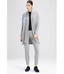 natori ulla long cardigan coat, women's, grey, size l natori