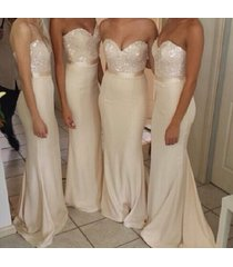 sexy mermaid sweetheart white long chiffon bridesmaid dress wedding formal dress