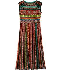 kleurrijke jacquard gebreide jurk met strokenrok, zwart-motief 36