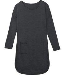 soepelvallende gebreide jurk met rondlopende zoom van zuivere bio-wol, antraciet/silver star 40/42