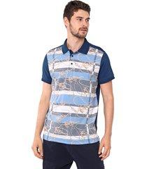 camisa polo yachtsman reta náutica azul-marinho/amarela - kanui