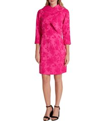 tahari asl floral-print jacquard dress and wrap jacket