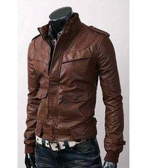 mens slim fit brown leather jacket, men biker leather jacket, motorcycle jacket