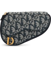 christian dior pre-owned trotter saddle pouch - blue