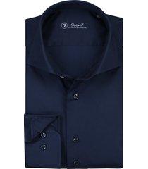 sleeve7 heren overhemd donkerblauw satijn