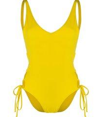 sian swimwear sian lace-up swimsuit - yellow