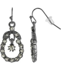 2028 jet black diamond caged drop earrings