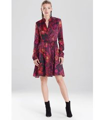 natori garden tapestry crinkle satin shirt dress, women's, pink, size 8 natori