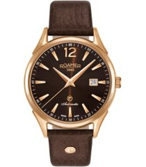 roamer men's 3 hands date 41 mm dress watch in steel case on strap