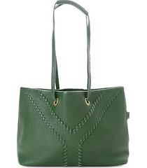 top-stitched leather tote