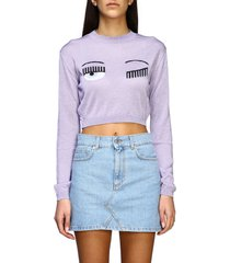 chiara ferragni sweater chiara ferragni sweater with lurex flirting embroidery