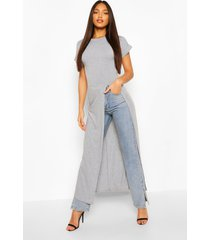 tall basic jersey maxi split top, grey marl