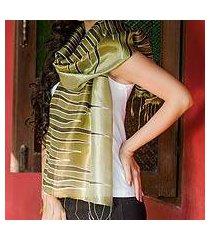 batik scarf, 'olive embrace' (thailand)