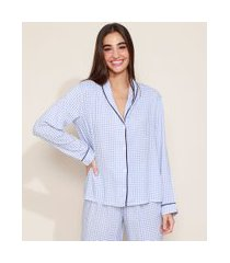 camisa de pijama feminino estampada xadrez vichy com vivo contrastante manga longa azul