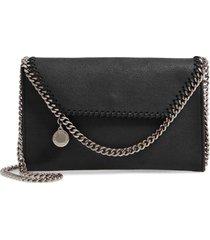 stella mccartney mini falabella shaggy dear faux leather crossbody bag - black