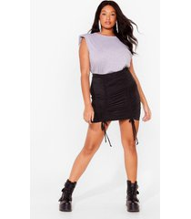 womens party at the front plus ruched mini skirt - black