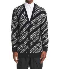 men's givenchy intarsia logo & chain link wool blend cardigan