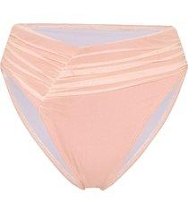 beth richards delrey ruched bikini bottoms - pink