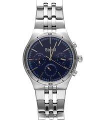 roland garros orologio multifunzione in acciaio silver con quadrante blu per uomo