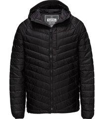 micro quilt down hooded jacket doorgestikte jas zwart superdry