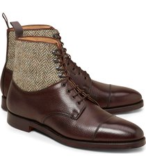 handmade men brown leather boots, tweed fabric boot for men, formal dress shoes