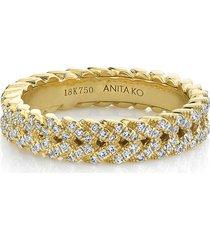 18k gold diamond braided ring