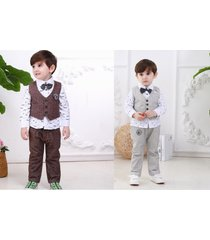 4pcs toddler kids baby boys waistcoat+tie+shirt+pants outfits formal party suits