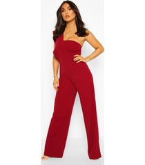 one shoulder wide leg jumpsuit, berry